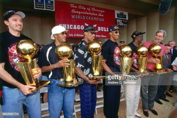 Toni Kukoc#7 Ron Harper Dennis Rodman Scottie Pippen Michael Jordan and Head Coach Phil Jackson of the Chicago Bulls during the 1998 Chicago Bulls...