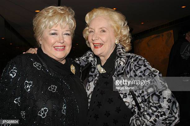 Toni Lamond and Val Jellay attend the after party for the opening night of the musical High Society at the State Theatre July 14 2004 in Melbourne...