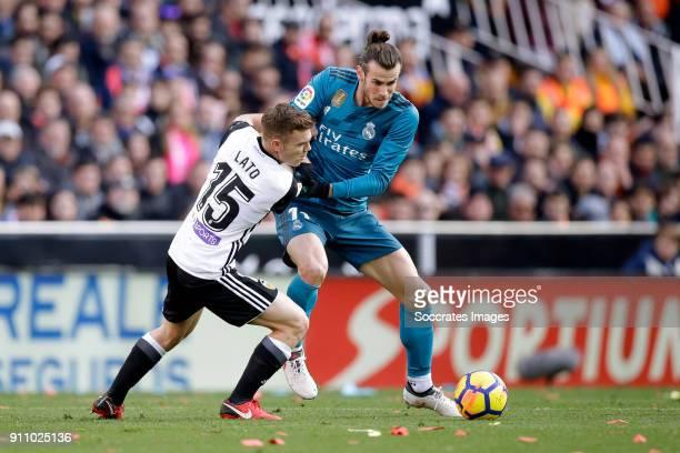 Toni Lato of Valencia CF Gareth Bale of Real Madrid during the La Liga Santander match between Valencia v Real Madrid at the Estadio de Mestalla on...