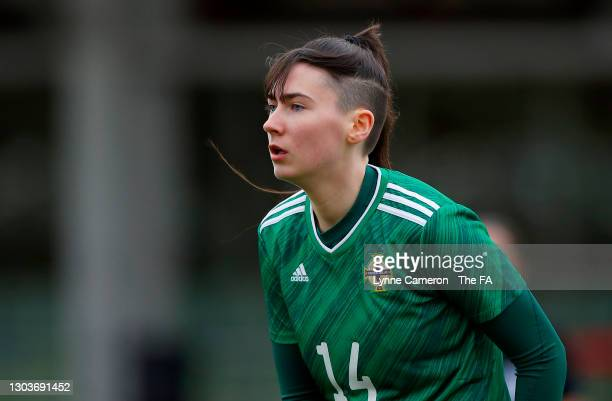 Toni Leigh Finnegan of Northern Ireland looks on during the Women's International Friendly match between England and Northern Ireland at St George's...