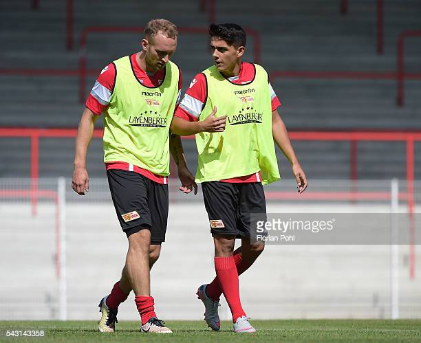 Toni Leistner and Eroll Zejnullahu of 1 FC Union Berlin during training on June 26 2016 in Berlin Germany