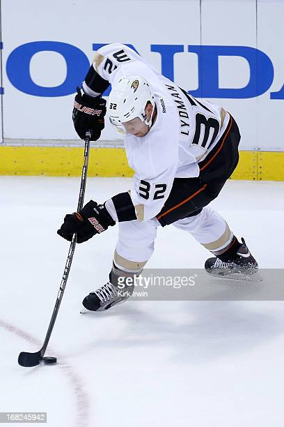 Toni Lydman of the Anaheim Ducks controls the puck during Game Three of the Western Conference Quarterfinals against the Detroit Red Wings during the...