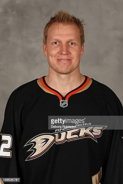 Toni Lydman of the Anaheim Ducks poses for his official headshot for the 20122013 season on January 13 2013 at Honda Center in El Segundo California