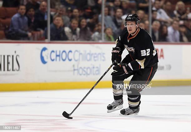 Toni Lydman of the Anaheim Ducks skates against the Columbus Blue Jackets at Honda Center on April 17 2013 in Anaheim California