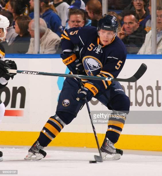 Toni Lydman of the Buffalo Sabres skates against the Boston Bruins on November 20 2009 at HSBC Arena in Buffalo New York