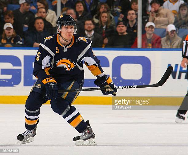 Toni Lydman of the Buffalo Sabres skates against the Florida Panthers on March 31 2010 at HSBC Arena in Buffalo New York