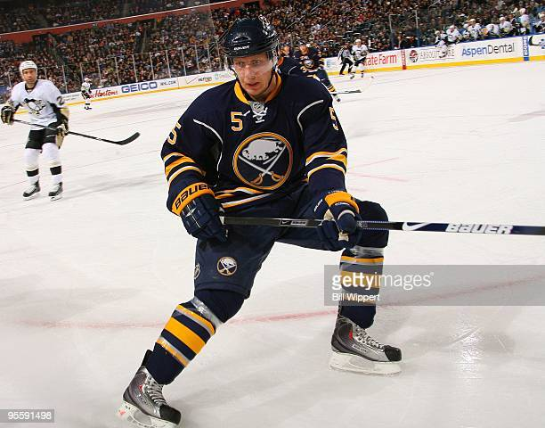 Toni Lydman of the Buffalo Sabres skates against the Pittsburgh Penguins on December 29 2009 at HSBC Arena in Buffalo New York