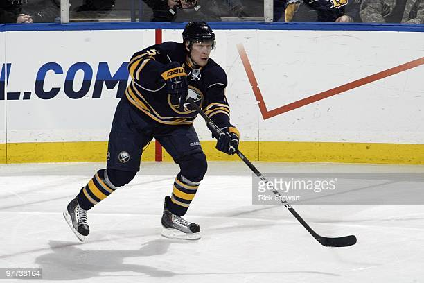 Toni Lydman of the Buffalo Sabres skates during the game against the Philadelphia Flyers at HSBC Arena on March 5 2010 in Buffalo New York