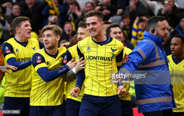 Toni Martinez of Oxford United celebrates scoring his sides second goal with his Oxford United team mates during The Emirates FA Cup Fifth Round...