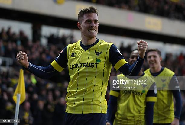 Toni Martinez of Oxford United celebrates scoring his side's third goal during the Emirates FA Cup Fourth Round match between Oxford United and...