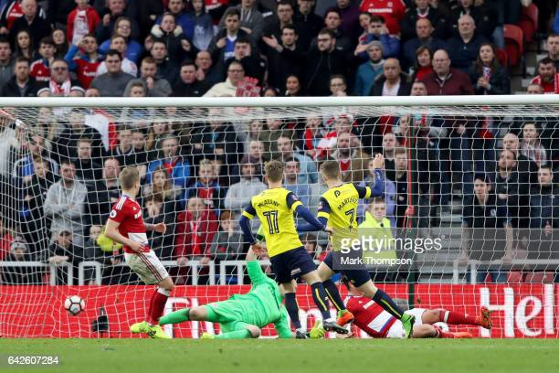 Toni Martinez of Oxford United scores his sides second goal during The Emirates FA Cup Fifth Round match between Middlesbrough and Oxford United at...