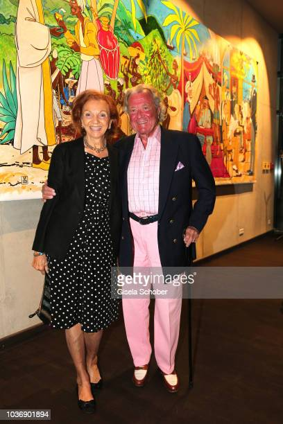 Toni Meggle and his wife Marina Meggle during a vernissage with artwork by artist Mauro Bergonzoli at the new building otto by the DINZLER...