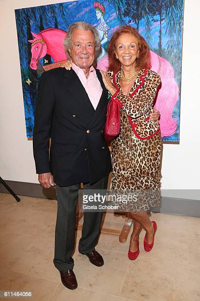 Toni Meggle and his wife Marina Meggle during the 'Bergonzoli in Bavaria' exhibition opening at Bayerisches Nationalmuseum on September 29 2016 in...