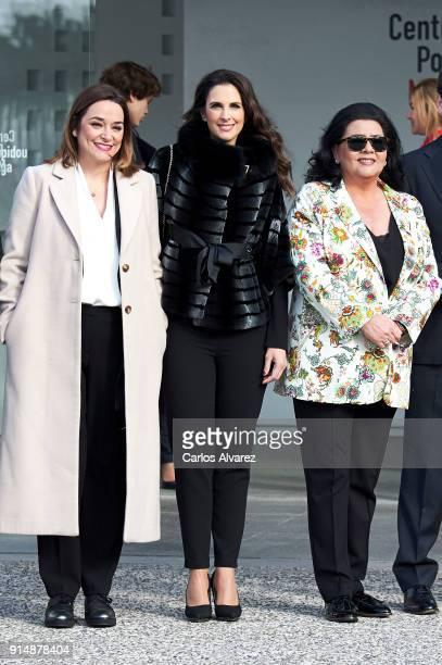 Toni Moreno Nuria Fergo and Maria del Monte attend the Gold Medals of Merit in Fine Arts 2016 ceremony at the Pompidou Center on February 6 2018 in...
