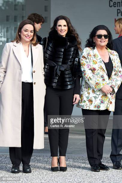 Toni Moreno Nuria Fergo and Maria del Monte attend the Gold Medals of Merit in Fine Arts 2016 ceremony at the Pompidou Center on February 6 2018 in...