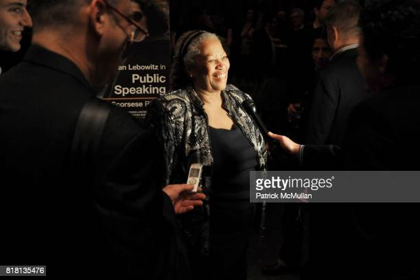 Toni Morrison attends The HBO Documentary Films Premiere of PUBLIC SPEAKING After Party at Four Seasons Restaurant on November 15 2010 in New York...