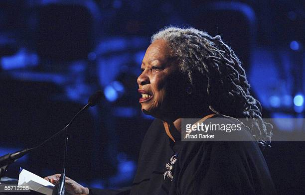 Toni Morrison performs at the Jazz At Lincoln Centers Concert For Hurricane Relief at the Rose Theater at Jazz at Lincoln Center on September 17,...