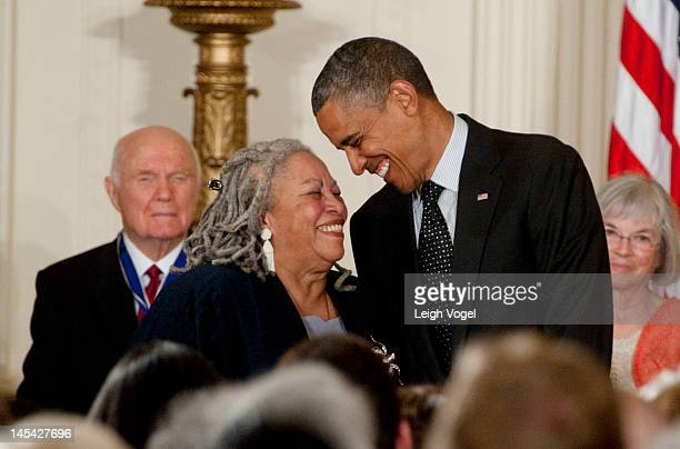 Toni Morrison receives the Presidential Medal of Freedom from President Barack Obama in the East Room of the White House on May 29, 2012 in...