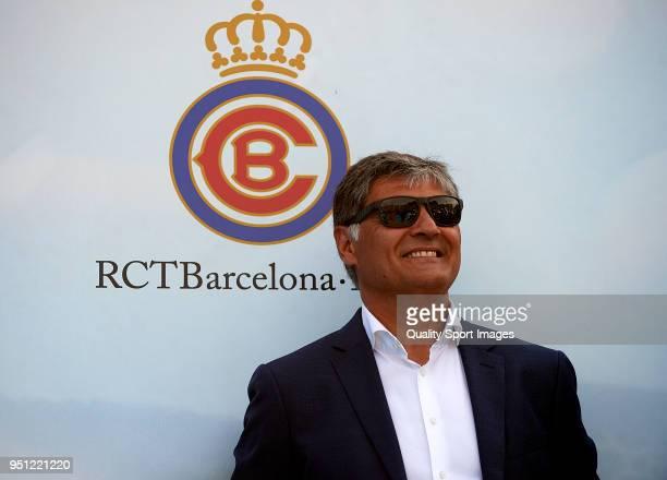 Toni Nadal attends during day three of the ATP Barcelona Open Banc Sabadell at the Real Club de Tenis Barcelona on April 25 2018 in Barcelona Spain