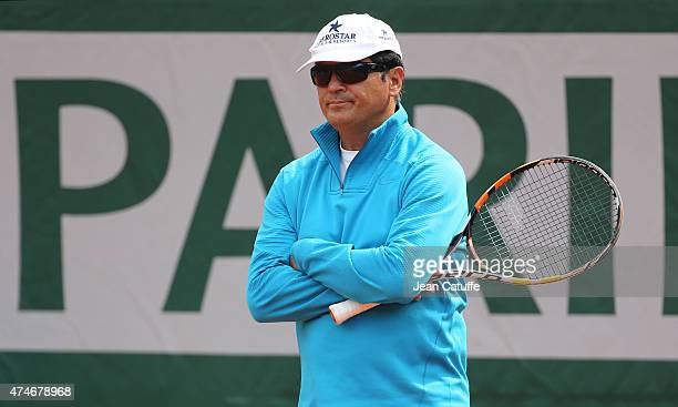 Toni Nadal coach of his nephew Rafael Nadal directs a practice session prior to the French Open 2015 at Roland Garros stadium on May 22 2015 in Paris...