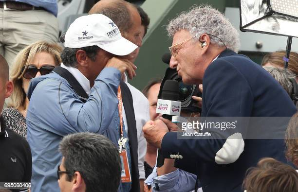 Toni Nadal coach of Rafael Nadal becomes emotional while interviewed by Nelson Monfort following the men's final on day 15 of the 2017 French Open...