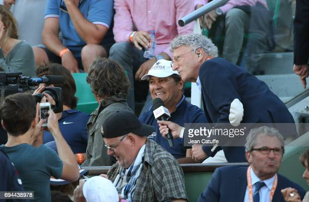 Toni Nadal coach of Rafael Nadal is interviewed by Nelson Monfort during day 13 of the 2017 French Open second Grand Slam of the season at Roland...