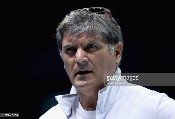 Toni Nadal coach of Rafael Nadal of Spain looks on during a training session prior to the Nitto ATP World Tour Finals at O2 Arena on November 10 2017...