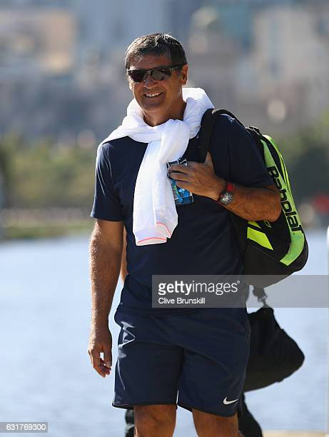 Toni Nadal coach of Rafael Nadal of Spain relaxes as he walks along the Yarra river ahead of the 2017 Australian Open at Melbourne Park on January 15...