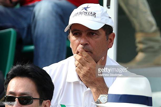 Toni Nadal coach of Rafael Nadal of Spain watches his Men's Singles match against Kei Nishikori of Japan during day nine of the French Open at Roland...