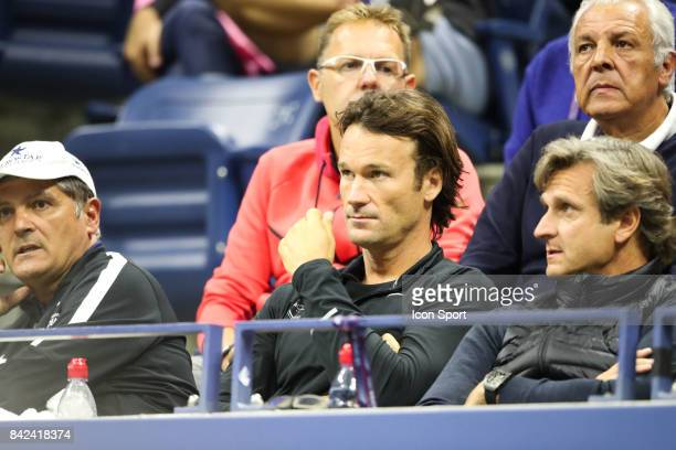 Toni Nadal uncle and Carlos Moya coach of Rafael Nadal of Spain during day 6 of the Us Open 2017 at USTA Billie Jean King National Tennis Center on...