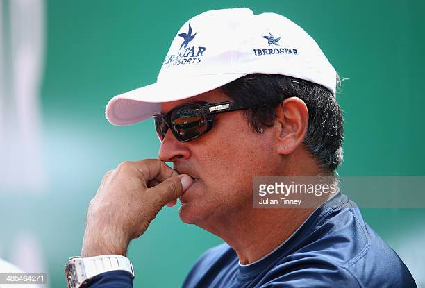 Toni Nadal uncle and coach of Rafael Nadal of Spain watches on in his match against David Ferrer of Spain during day six of the ATP Monte Carlo Rolex...