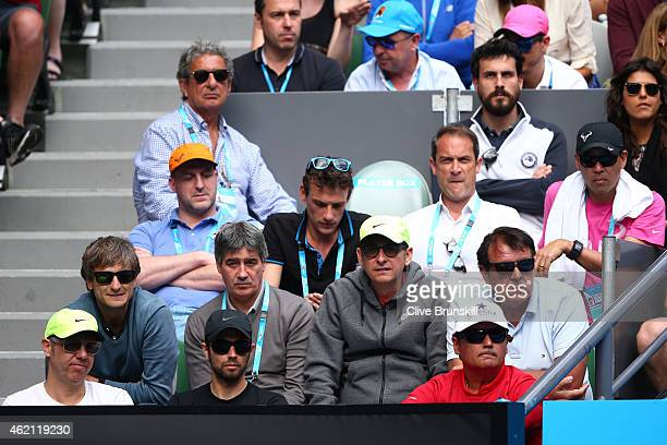Toni Nadal watches Rafael Nadal of Spain in his fourth round match against Kevin Anderson of South Africa during day seven of the 2015 Australian...