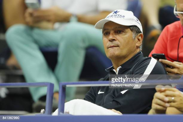 Toni Nadal watches Rafael Nadal of Spain play against Taro Daniel of Japan in their second round Men's Singles match on Day Four of the 2017 US Open...