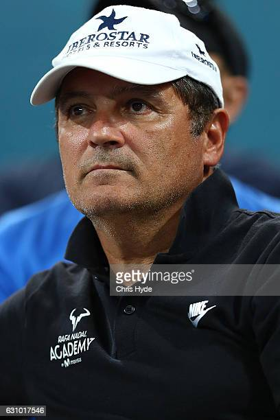 Toni Nadal watches Rafael Nadal of Spain play his quarter final match against Mischa Zverev of Germany during day five of the 2017 Brisbane...