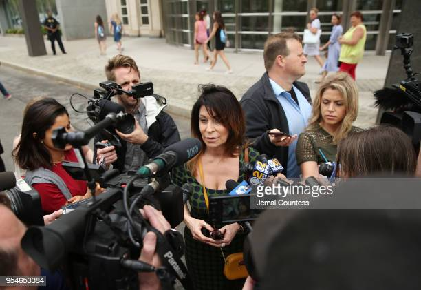Toni Natalie, a former associate of Keith Raniere, speaks to the media outside the United States Eastern District Court after a bail hearing for...
