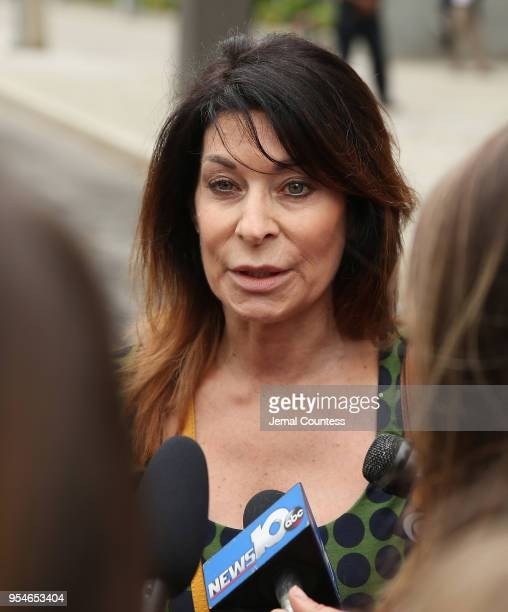 Toni Natalie, a former associate of Keith Raniere speaks to the media outside the United States Eastern District Court after a bail hearing for...