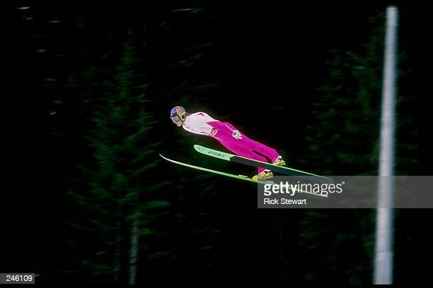 Toni Nieminen of Finland sails through the air in the 120 m ski jump event during the Winter Olympics in Albertville France Nieminen won the gold...