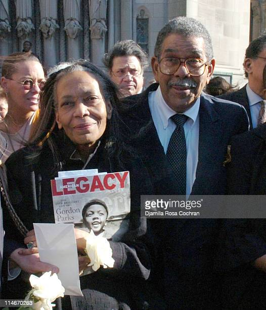 Toni Parks and David Parks on the steps of Riverside Church following the funeral service for Photographer Gordon Parks on March 14 2006 in New York...