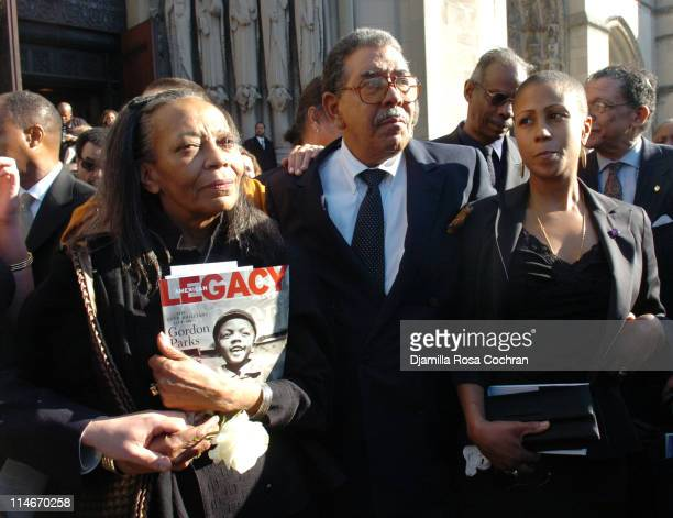 Toni Parks David Parks and Leslie Parks on the steps of Riverside Church following the funeral service for Photographer Gordon Parks on March 14 2006...