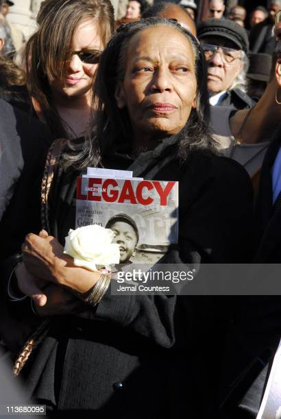 Toni Parks on the steps of Riverside Church following the funeral service for Photographer Gordon Parks on March 14 2006 in New York City