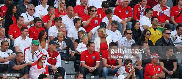 Toni Poole wife of John Terry sits alongside her two children mother of John Terry Sue Terry and Christine Bleakley girlfriend of Frank Lampard of...