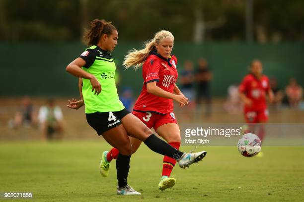 Toni Pressley of Canberra United FC kicks during the round 10 WLeague match between Canberra United and Adelaide United at McKellar Park on January 7...