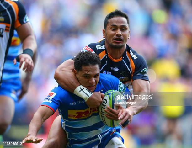 Toni Pulu of Brumbies high tackles Herschel Jantjies of the Stormers during the Super Rugby match between DHL Stormers and Brumbies at DHL Newlands...