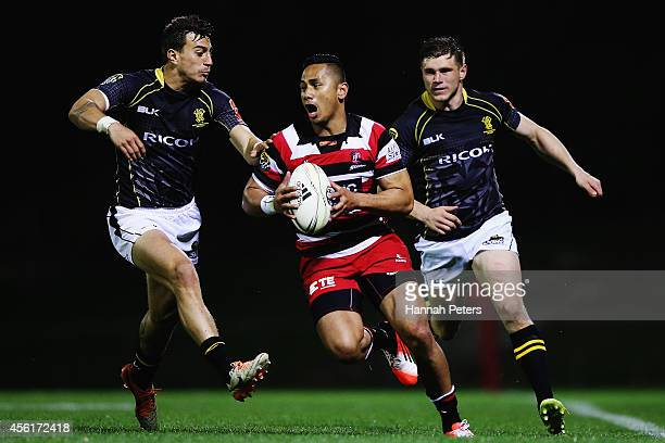 Toni Pulu of Counties makes a break during the round seven ITM Cup match between Counties Manukau and Wellington on September 27, 2014 in Pukekohe,...