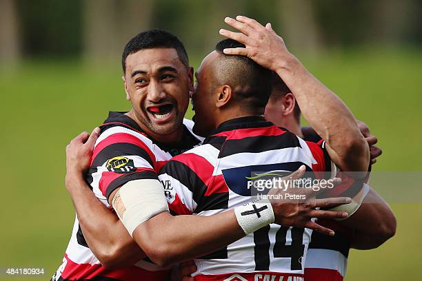 Toni Pulu of Counties Manukau celebrates with Jimmy Tupou and Sam Henwood after scoring a try during the round one ITM Cup match between Counties...