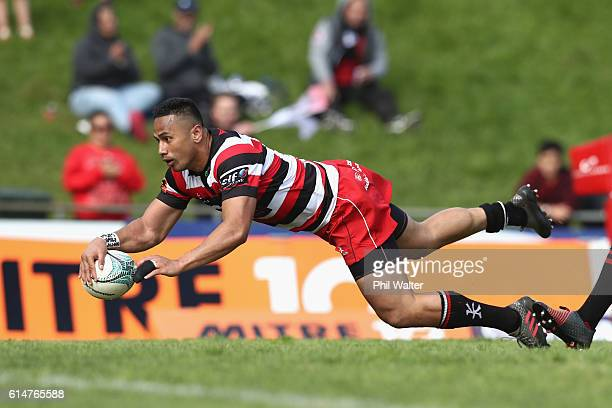 Toni Pulu of Counties Manukau scores a try during the round nine Mitre 10 Cup match between Counties Manukau and Canterbury on October 15, 2016 in...