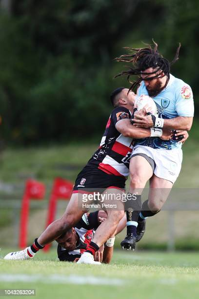 Toni Pulu of Counties Manukau tackles Rene Ranger of Northland during the round seven Mitre 10 Cup match between Counties Manakau and Northland at...