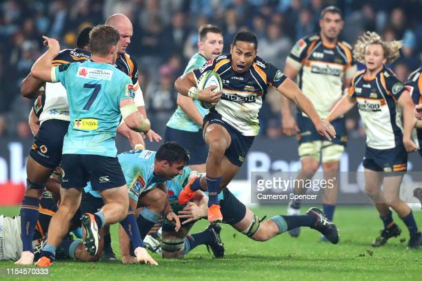 Toni Pulu of the Brumbies makes a break during the round 17 Super Rugby match between the Waratahs and the Brumbies at Bankwest Stadium on June 08,...