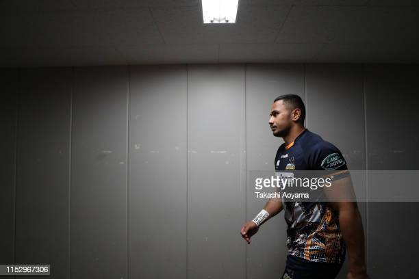 Toni Pulu of the Brumbies walks a corridor to the pitch prior to the Super Rugby match between Sunwolves and Brumbies at the Prince Chichibu Memorial...
