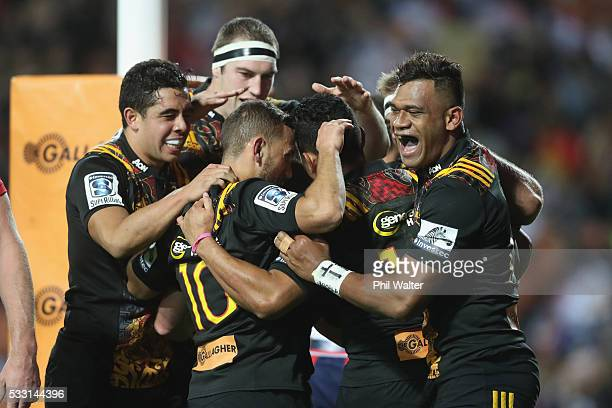 Toni Pulu of the Chiefs celebrates his try during the round 13 Super Rugby match between the Chiefs and the Rebels at FMG Stadium on May 21, 2016 in...